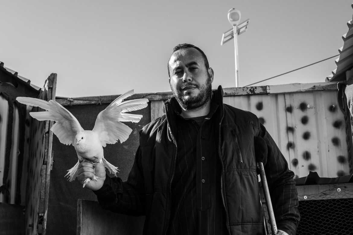 Azraq Refugee Camp Jordan. Refugee with his dove. Photo by Martin Thaulow.